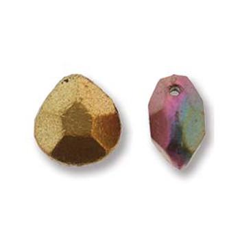 Briolette Czech Glass Drop Beads 9x10mm Violet Rainbow 15 beads