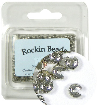 200 Crimp Knot Cover Steel Nickel Tone, Makes 5mm Round Bead