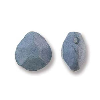 Briolette Czech Glass Drop Beads 9x10mm Blue Luster 15 beads