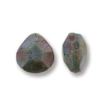 Briolette Czech Glass Drop Beads 9x10mm Lazure Blue 15 beads