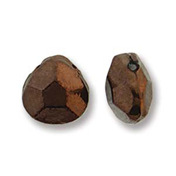 Briolette Czech Glass Drop Beads 9x10mm Jet Bronze 15 beads