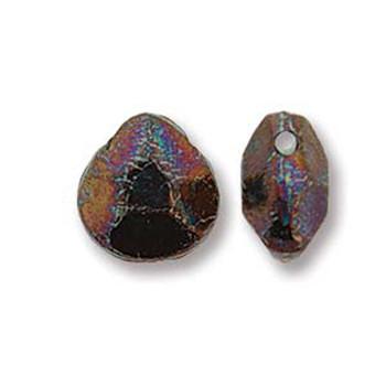 Briolette Czech Glass Drop Beads 9x10mm Jet Iris Luster 15 beads