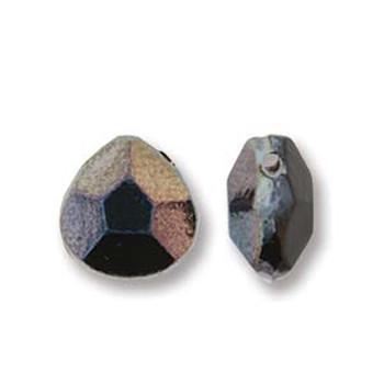 Briolette Czech Glass Drop Beads 9x10mm Jet Celsian 15 beads