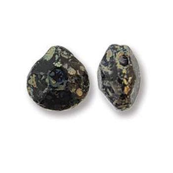 Briolette Czech Glass Drop Beads 9x10mm Jet Picasso 15 beads