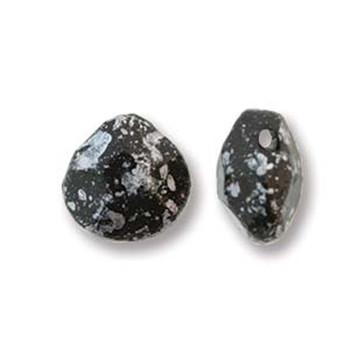 Briolette Czech Glass Drop Beads 9x10mm Tweedy Silver 15 beads