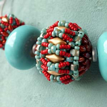 FIONA BEADED BEAD Using GemDuos, MiniDuos, Matubos and Seed Beads by BeadSmith Inspiration Squad Member Anna Lindell