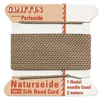Griffin Silk Bead Cord Thread Beige Size-1   2 Meter 2.2 Yards   0.35mm
