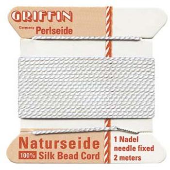Griffin Silk Bead Cord Thread White Size-6   2 Meter 2.2 Yards   0.7mm