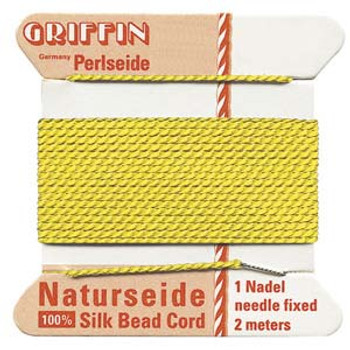 Griffin Silk Bead Cord Thread Yellow Size-2   2 Meter 2.2 Yards   0.45mm