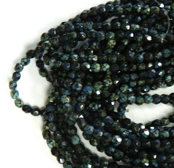 48 FirePolished Faceted Czech Glass Beads 4mm Jet Picasso T2398