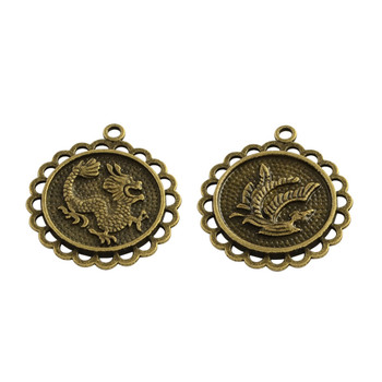 3 Alloy Pendants Dragon Lead Free Amtique Brass 29x26x2.5mm, Hole: 2mm 2 side design