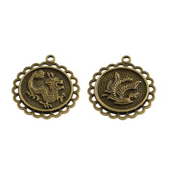 3 Alloy Pendants Dragon Lead Free Amtique Brass 29x26x2.5mm, Hole: 2mm 2 side design