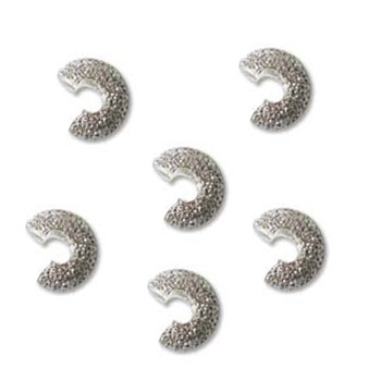 12 Crimp Bead Cover 4mm Open size Star Dust- Silver Plate BeadSmith Brand