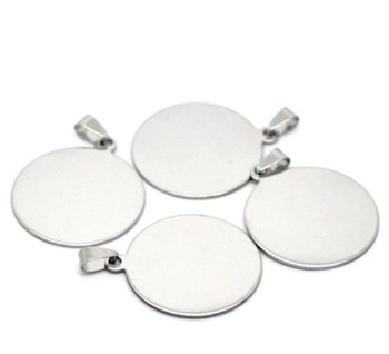 5 304 Stainless Steel Dye Stamping Engraving Blanks Tags Round With Bail 34mm 1-3/8 Inch Rb20529