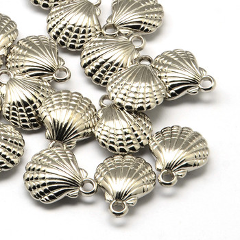 10 Pack Shell  Acrylic Pendants Antique Silver 23x19mm Hole: 3mm