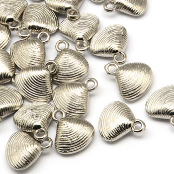10 Pack Shell  Acrylic Pendants Antique Silver 18x16mm Hole: 3mm