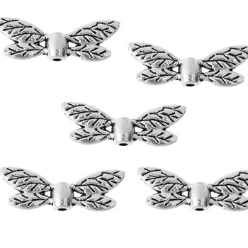 10 Pack Dragonfly Wings Antique Silver Alloy 22mm Hole: 1.3mm