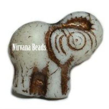 20x23mm Elephant - Ivory with a bronze wash 1 bead