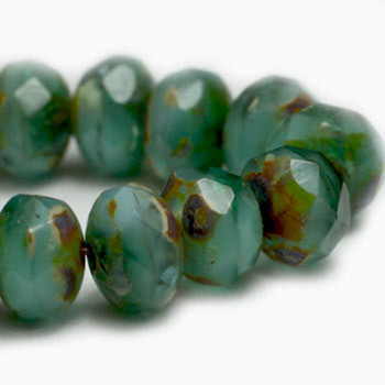 5x3mm Rondelle Sea Green and Sky Blue with Picasso Finish 29 Beads