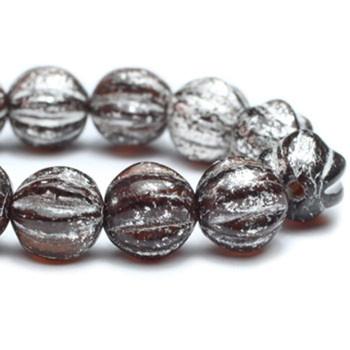 6mm Melon Beads BN. Chocolate with Mercury Finish 24 Beads