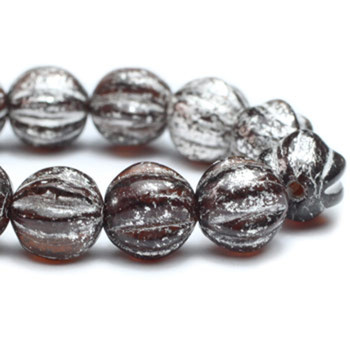 6mm Melon Beads BN. Chocolate with Mercury Finish 24 Beads