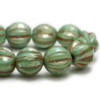 6mm Melon Beads GN. Green Turquoise Picasso 24 Beads