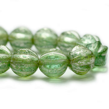 6mm Melon Beads GN. Green with Mercury Finish 24 Beads