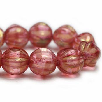 6mm Melon Beads PK. Golden Pink 24 Beads