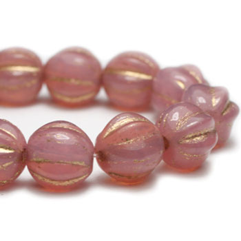 6mm Melon Beads PK. Opal Dusty Rose and Gold 24 Beads