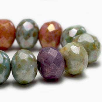 7x5mm Rondelle Bead Mix Of Grape, Apricot, Stone, and Sage with 24 Beads
