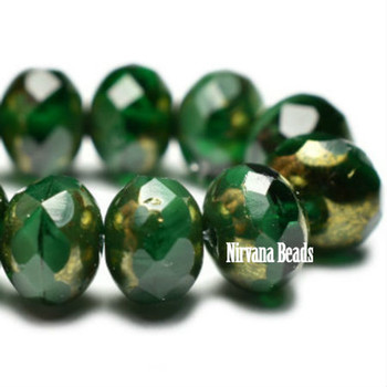 7x5mm Rondelle Beads - Hunter green with gold finish 24 Beads