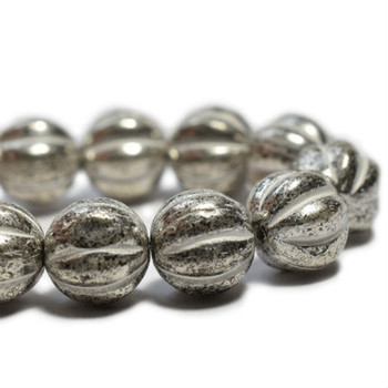 8mm Melon Bead - Antique silver 20 Beads