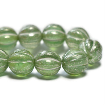 8mm Melon Bead - Celadon with mercury finish 20 Beads