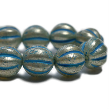 8mm Melon Bead - Pale turquoise with mercury finish 20 Beads
