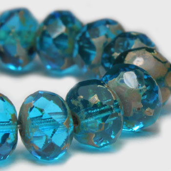 8x6mm Rondelle Beads BE. Capri and Picasso 24 Beads