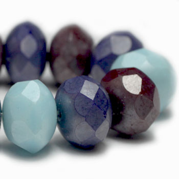 8x6mm Rondelle Beads BE. Indian Blue Corn 24 Beads