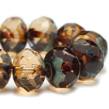 8x6mm Rondelle Beads BN. Smoky Quartz brown with Picasso Finish 24 Beads
