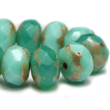8x6mm Rondelle Beads GN. Emerald 24 Beads