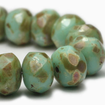 8x6mm Rondelle Beads GN. Mint Picasso 24 Beads