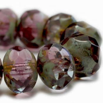 8x6mm Rondelle Beads PE. Amethyst 24 Beads