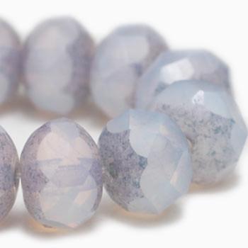 8x6mm Rondelle Beads PE. Purple Opal 24 Beads