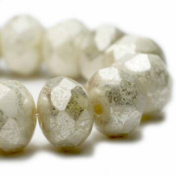 8x6mm Rondelle Beads W. Ivory Mercury 24 Beads