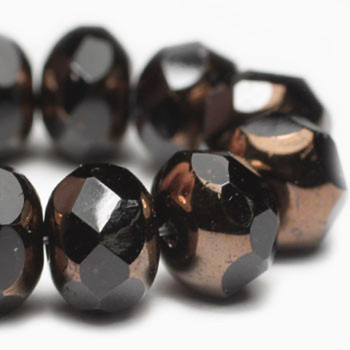 8x6mm Rondelle Black with Bronze Finish 24 Beads
