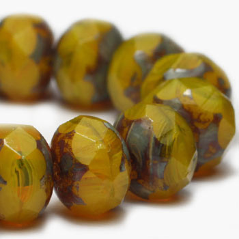 8x6mm Rondelle Dandelion with Picasso Finish 24 Beads
