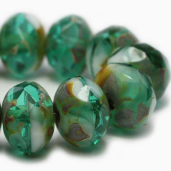 8x6mm Rondelle Emerald and White with Picasso Finish 24 Beads
