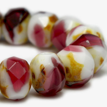 8x6mm Rondelle Rosewood and White with Picasso Finish 24 Beads