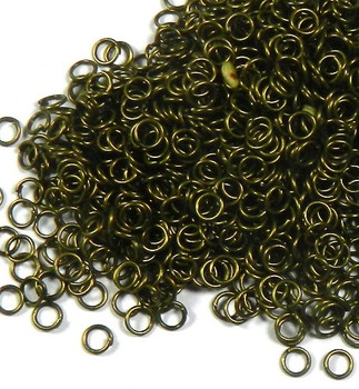 1000 Jump Rings Antiqued Gold-Plated Brass 5mm Round Approx 22 Gauge Open0 Rb01782