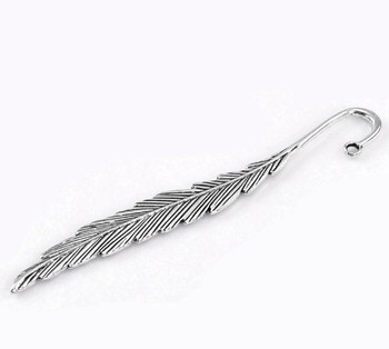 5 Beading Bookmarks Feather Antique Silver 4 1/2 Inch 2.8mm Hole