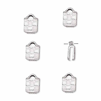 10 Ribbon Crimps  silver plated brass  5x5mm textured square bracelet Endings