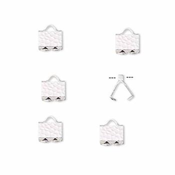 10 Ribbon Crimps  silver plated brass  6x5mm hammered rectangle bracelet Endings